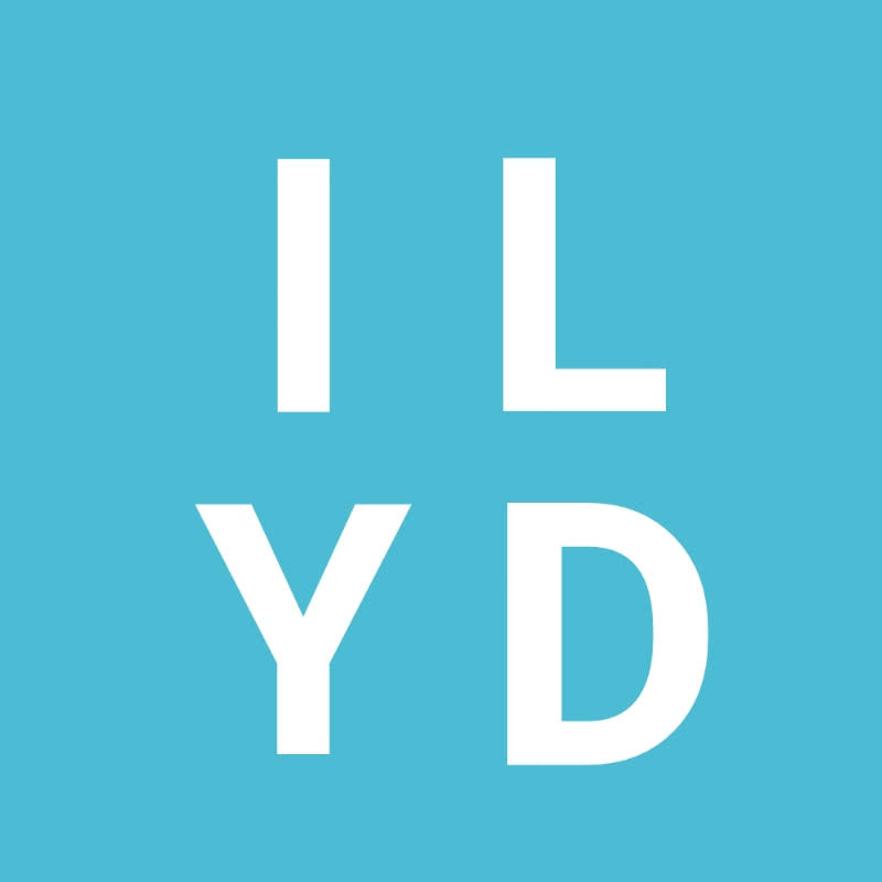 Blue Square ILYD logo for I like your dress podcast